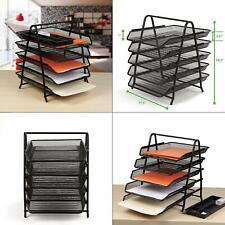 5 Tier Steel Mesh Paper Tray Desk Organizer Black