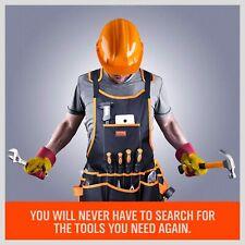 Professional Canvas Work Apron Construction Carpenter 16 Tool Pocket Waterproof