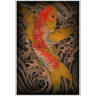 Koi by Clark North Traditional Japanese Tattoo Wall Art Print Poster for Framing