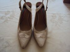 Paul Smith Black Ladies Cream Leather Shoes Slingback Size 8
