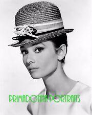AUDREY HEPBURN 8X10 Lab Photo B&W 1950s Glamour Bowler Hat, Actress Portrait