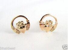 Ladies Girls 9ct Yellow Gold IRISH Claddagh Heart Studs Earrings X'Mas GIFT BOX