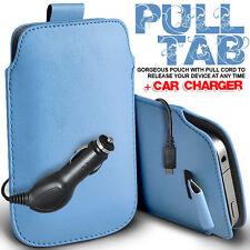 Tira De Cuero Tab Bolsa De Piel Funda + Cargador de coche se adapta a varios teléfonos LG