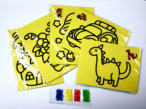 5 set Kid DIY Color Sand Painting Art Creative Drawing Toys Sand Paper Craft ME
