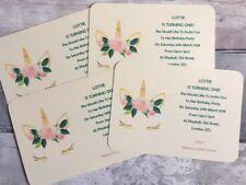 Personalised Unicorn Party Invitations, Birthday, Baby Shower, Christening