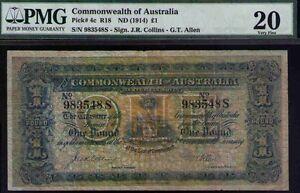 Commonwealth of Australia Pick# 4c R18 ND1914 £1 Sign.J.R. Collins -G.T.Allen VF