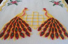 Vintage Cotton Chenille Bedspread Red Yellow Double Peacock Full Queen Cutter?
