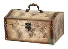 New Vintiquewise Old World Map Leather Vintage Style Treasure Box, QI003051