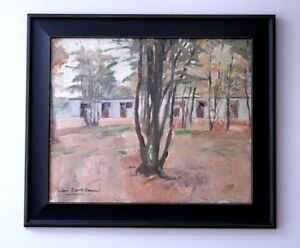 LARGE FRENCH OIL on CANVAS. HST. HELEN CAROLI CASSIN. STABLES IN PROVENCE.