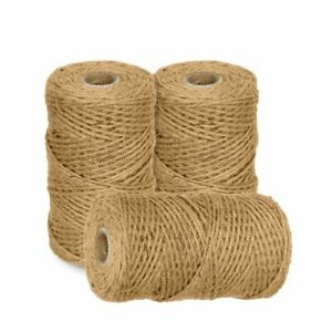 100m-1000m 3 Ply Natural Brown Soft Jute Twine Sisal String Rustic Shabby Cord
