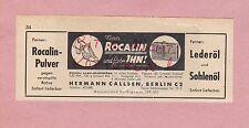 BERLIN, Werbung 1942, Hermann Callsen Rocalin-Pulver Leder-Sohlen-Öl Schuhe