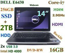 """FAST DELL E6430 i7-3520M (256GB-SSD + 2TB DVDRW) 16GB 14"""" HD+  Backlit"""