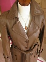 Ladies M&S tan brown real leather TRENCH COAT size UK 12 tie belt military long