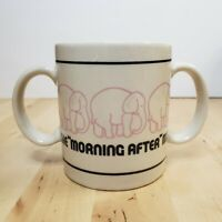 The Morning After Mug Pink Elephants Coffee Tea Cup Double Handle
