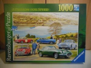 RAVENSBURGER A PASSION FOR SPEED BLUEBIRD VINTAGE CARS 1000 PIECE JIGSAW PUZZLE