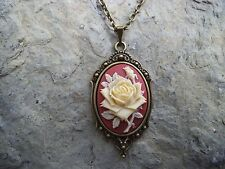 Set In Bronze! Wedding, Xmas Rose Cameo Pendant Necklace! (Cream/Red/Brick) -