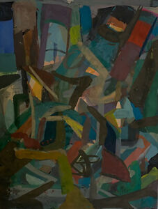 Josef Presser Abstract Composition - Ship Yard - Framed
