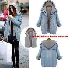 NEW Womens Denim Coat Hooded Outwear Jean Winter Jacket Oversized 2Pcs Suit