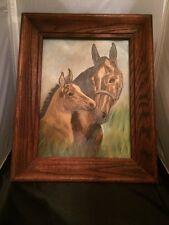 """Vintage Original Oil Painting on Artist Board """"Mom & Foal Horse"""" Signed, Framed"""