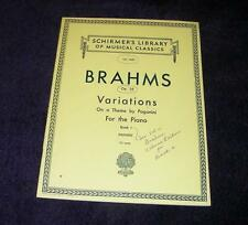 BRAHMS op. 35 Variations on a Theme by Paganini piano Schirmer's  free ship