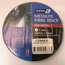 NORTON METALITE FIBRE DISCS FOR METAL P50  (PACKS OF 5) 100 MM X 16 MM