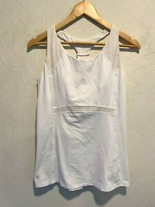 Athleta Women's Racerback Tank Top Size LARGE Lined Compression Fit White Gym