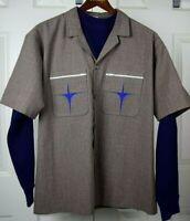 Vtg 60s Premier Wool Starburst Pocket Bowling Shirt Sz M/L Kurt Cobain Grunge