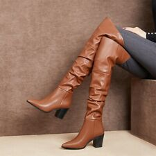 Women Leather Pointy Toe Block Heel Over The Knee High Riding Boots Outwear New