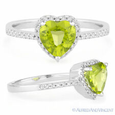 1.36 ct Heart-Shape Peridot Round Diamond Right-Hand Promise Ring 14k White Gold