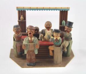 Vintage ANRI Italy Hand Carved Wooden Beer Bar Mechanical Music Box Barware Set