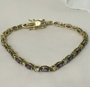 AMETHYST Cubic Zirconia TENNIS BRACELET GOLD over STERLING SILVER NEW IN BOX!