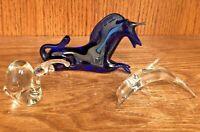 Lot of 3 Vintage Hand Blown Glass Animal Figurine Dolphin, Snail, Cobalt Unicorn