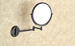 Oil Rubbed Bronze Folding Arm Wall Mount Magnifying Cosmetic Bathroom Mirror