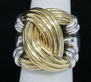Signed LAGOS 750 18k 925 Sterling Silver Large Knot Ring