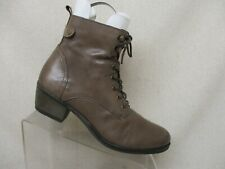 Spring Step Brown Leather Side Zip Lace Up Ankle Fashion Boots Size 40 EUR