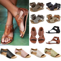 Ladies Flat Buckle Sandals Womens Gladiator Open Toe Summer Beach Casual Shoes