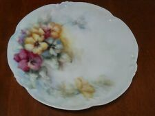 Hand Painted Cabinet Plate Dish Limoges D & Co Pansy Pansies Floral Signed 1907