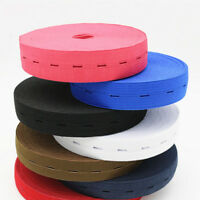 Elastic Bands Stretchy Flat Cord Belt with Buttonhole for Sewing Trim Crafts DIY