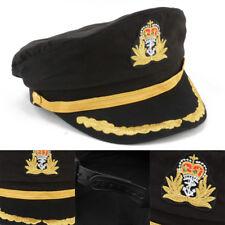 Unisex Men Black Sailor Hat Officer Stag Night Nautical Fancy Dress Captain Cap