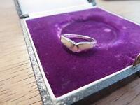 Hübscher 925 Silber Ring Designer Jugendstil Art Deco Schlicht Bein Gelb Senf