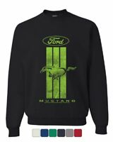 Ford Mustang Green Stripe Sweatshirt Classic American Muscle Car