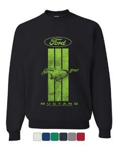 Ford Mustang Green Stripe Sweatshirt Classic American Muscle Car
