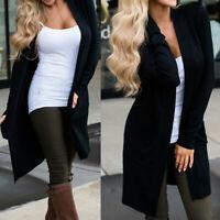 Women's Sweater Long Sleeve Casual Cardigan Autumn Solid Jumper Coat Jacket US