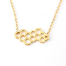 Cute Simple Honeycomb Beehive Hive Bee Honeybee Necklace Pendant For Women Gift
