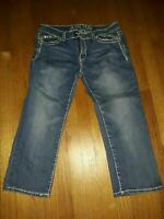 Miss Chic Juniors Size 15 Capri Jeans EMBELLISHED FLAP POCKET Cropped Women's