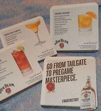 Jim Beam Bourbon - Tailgate Theme Recipe Coasters - (Set of 4).NEW
