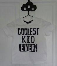 BN GEORGE ASDA WHITE & BLUE 'COOLEST KID EVER!' COTTON T-SHIRT TOP 3-4 YEARS