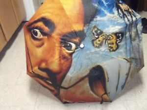 "SALVADORE DALI 42"" Polyester UMBRELLA ships worldwide One of a Kind"