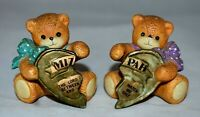 Vintage Mizpah Bear Figurines set of 2 marked Lucy & Me Enesco 2 1/8 inches tall