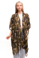 ScarvesMe Women's Soft Camouflage Print Vest Kimono Shawl Cardigan Cover up
